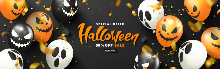 Halloween Sale Promotion Poster with scary balloons,spiders, candy and flying serpentine.Vector illustration for website , posters, ads, coupons, promotional material,invitation, postcard