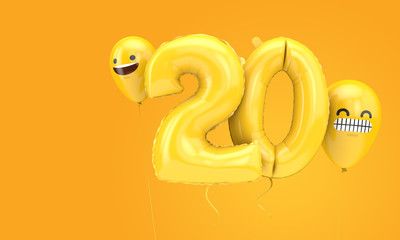 Number 20 birthday ballloon with emoji faces balloons. 3D Render