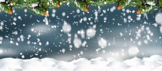 weihnachtliche hintergrund mit schnee und grünen tanne Wall mural