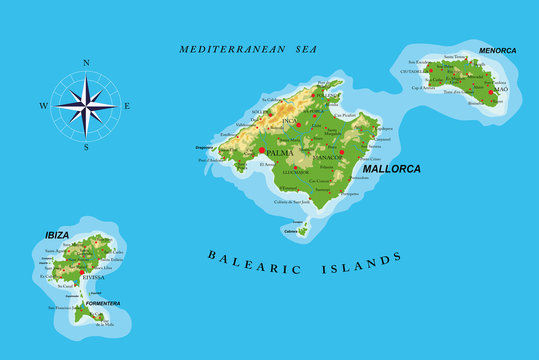 Balearic islands physical map