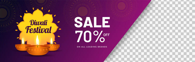 Diwali Festival Sale with 70% discount offer, illuminated oil lamps on purple background. Website header or banner design with space for your product image.