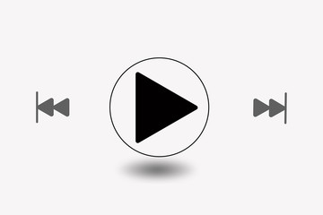 symbolic illustration of music play key, start button and fast forward key