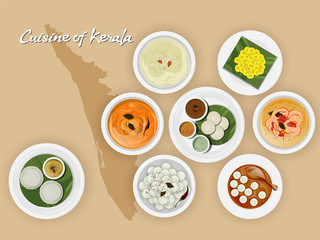 Top view of Kerala cuisine set with illustration of brown state map.