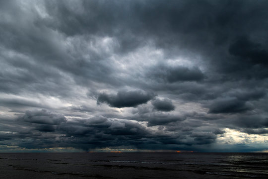 Dark clouds over Baltic sea.