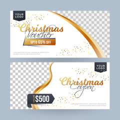 Christmas voucher or coupon layout with different discount value and space for your product image.