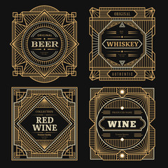 Art deco labels. Vintage alcohol labels framed brands rum tequila drinks golden borders swirl vector template. Wine alcohol badge, label logo for bottle illustration