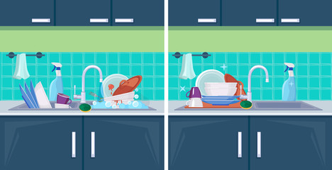 Clean and dirty dish. Sink with kitchenware items for washing cleaning vector cartoon background. Illustration wash and clean, unwashed kitchenware