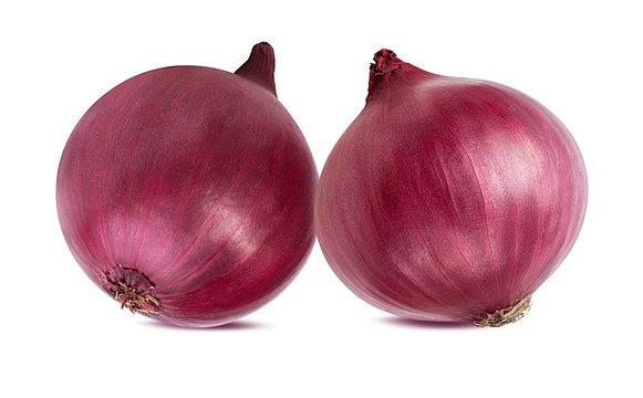 Purple onion isolated on white background.
