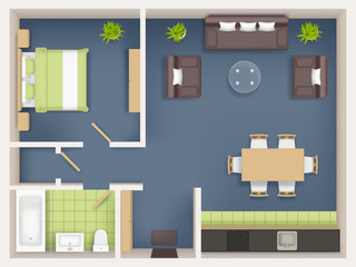 Interior plan top view. Realistic appartment livingroom bathroom badroom furniture table wardrobe sofa chairs tables vector realistic. Illustration interior top view, furniture plan living room