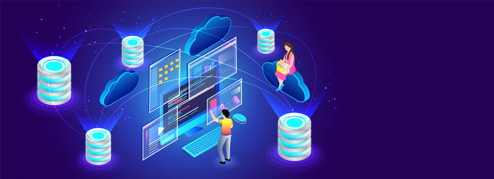 Multiple data and cloud servers connected to each other, miniature people manage or store the data. Isometric design for Data Center concept.