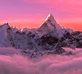 Acrylic Prints Candy pink Greatness of nature concept. Majestic Ama Dablam peak (6856 m) at sunrise. Nepal, Himalayas