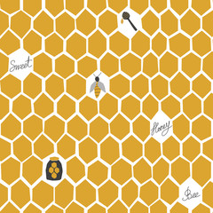 Honeycomb hand drawn seamless pattern. Cartoon illustration with honey comb. For textile, wrapping, wallpaer.