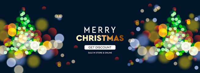 2020 New Year. Christmas tree sparkle blur bokeh effect horizontal background . Dark Xmas backdrop. Text Merry Christmas. Vector illustration for web banners invitation poster.