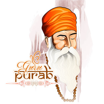 Guillustration of Happy Gurpurab, Guru Nanak Jayanti festival of Sikh celebration