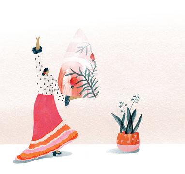 Illustration of woman performing flamenco dance