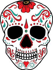 Sugar Skulls Decorated Graphic Art
