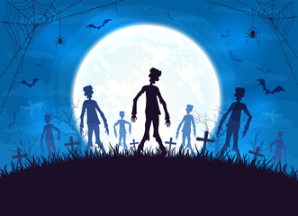 Blue Halloween Background with Zombies