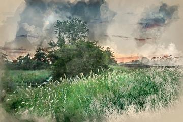 Printed kitchen splashbacks Khaki Digital watercolor painting of Beautiful vibrant Summer sunrise over English countryside landscape