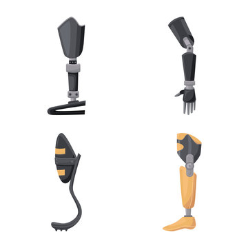 Vector design of prosthetic and artificial sign. Set of prosthetic and mechanical stock vector illustration.