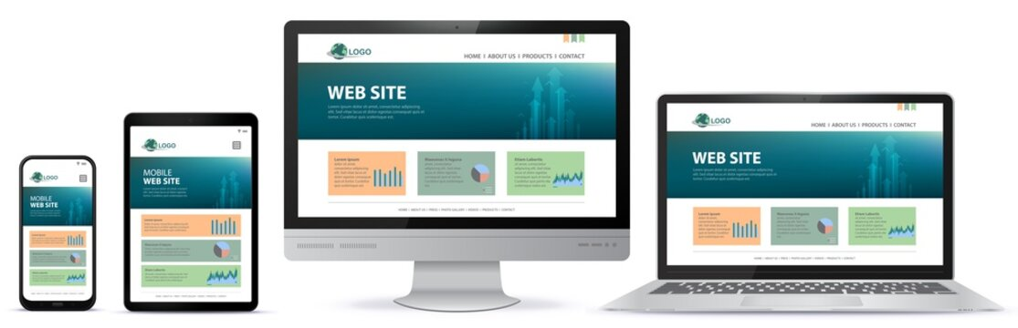 Responsive Website Design With Computer Monitor, Laptop, Tablet PC and Mobile Phone Screen