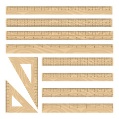 Rulers wood vector icons set, traight and triangle geometry instruments collection on white backgroung