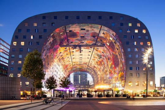 Rotterdam markthal at twilight