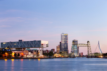 Twilight cityscape of Rotterdam