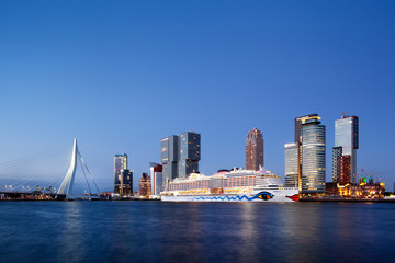 Cruise ship Aida Perla moored in Rotterdam at dusk