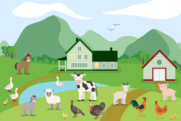 Cartoon farm animals on the background of the countryside. Vector illustration in flat style: goat, sheep, cow, donkey, horse, pig, chicken, rooster, goose, turkey