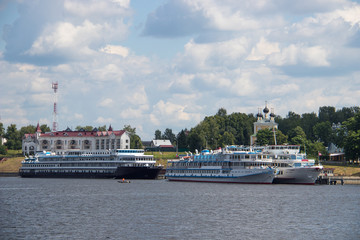 Uglich. Yaroslavl region. Cruise ships at the pier. Golden ring of Russia.