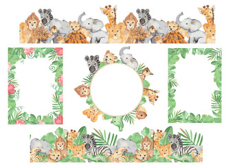 Frames, seamless borders African cute cartoon animals and plants