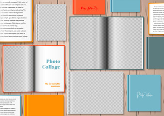 Template for photo collage in modern style. Frames for clipping masks are in the vector file. Template for a photo album. Lots of open and closed books