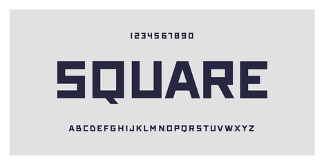 Square typography. Geometric font typeface, numbers and letters set. Creative alphabet. Vector illustration. For technology, gaming, sports and architecture subjects.