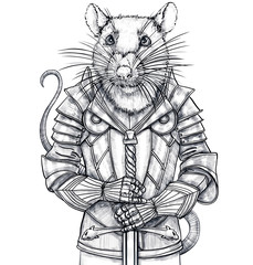 Portrait of a mouse, rat close-up in metal armor. Vintage illustration art. Hand drawn sketch isolated on a white background. White and black graphics. The poster for print on textiles, notebooks
