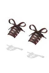 The photo of brown shiny shoelaces with brown tips, hanging in the air on a white background. Shoelaces is casting a shadow.