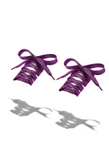 The photo of violet shiny shoelaces with violet tips, hanging in the air on a white background. Shoelaces is casting a shadow.