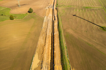 Construction site of the European natural gas pipeline EUGAL near Wrangelsburg (Germany) on 16.02.2019, this pipeline begins in Lubmin at the landing site of the Nord Stream 1 and 2 Pipline.
