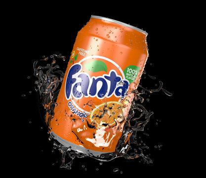 Fanta Orange can Black splash isolated on white background