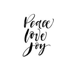 Peace, love, joy postcard. Hand drawn brush style modern calligraphy. Vector illustration of handwritten lettering.