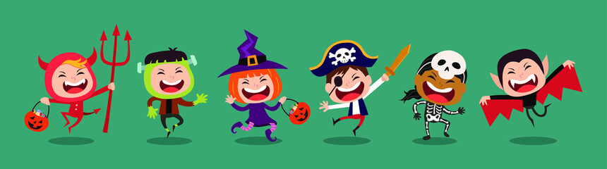 Funny and cute kids vector cartoon character. Kids in halloween costumes. Wall mural