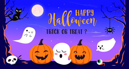 Happy Halloween with funny pumpkin and cute ghost cartoon character. Halloween design elements.