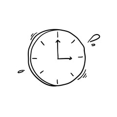 doodle clock icon illustration handdrawn style