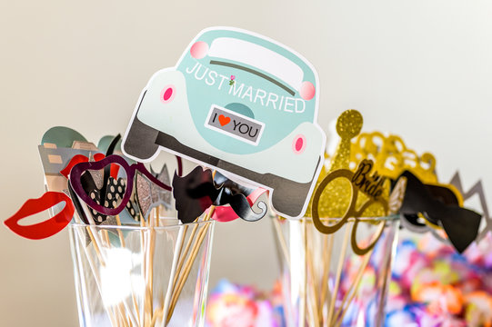 Retro Party set Glasses, lips, mustaches, design photo booth party wedding funny pictures