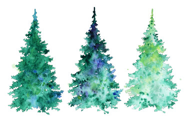 set of Christmas trees. watercolor illustration.