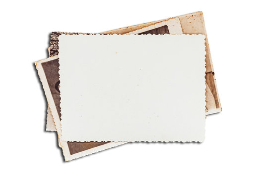 Old photos on white isolated background. Blank old group photo.