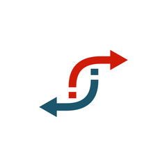 Rotating, circular, cyclic arrows. Spin, twist, rotation, change, sync, synchronization, reverse, refresh, swap, update concept. Vector illustration