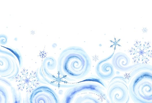 Christmas rectangle banner with colorful snowflakes and winter blizzards for your text in vintage watercolor style. Vector holiday illustration blue, purple and turquoise colors on white background.