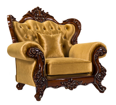 Detail of Baroque Armchairs with gold frame isolate on wihte background. Luxurious furniture