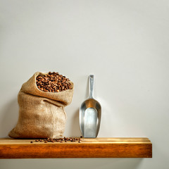 Wall Mural - Coffee background of free space for your decoration and gray wall background