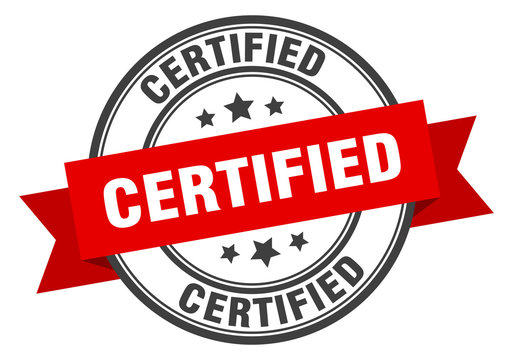 certified label. certified red band sign. certified